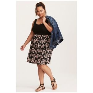 Torrid Floral Print Knit To Woven Fit Flare Dress